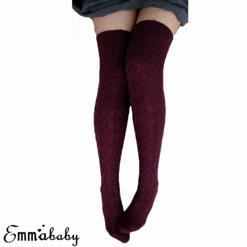 ผู้หญิงฤดูหนาวผ้าฝ้ายถักหนาถักเข่าเข่ารองเท้าบู๊ตยาวขนสัตว์อบอุ่นต้นขาถุงน่องสูง Pantyhose ขาอุ่นสีดำ Burgundy