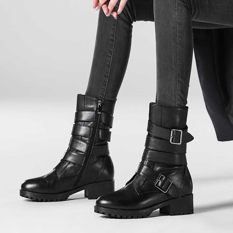 Kühlen MartinS stiefel weibliche echtem leder 2019 neue winter wilden zipper flache stiefel Metall schnalle frauen Britischen wind hohe helfen