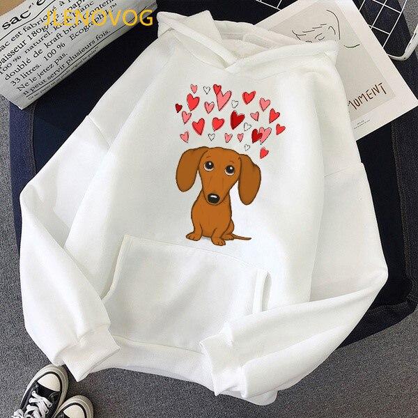 Cute Dachshund Dog Love Cartoon Print Hoodies Women Clothes 2021 Funny Vogue Sweatshirt Femme Harajuku Kawaii Winter Tracksuit 15