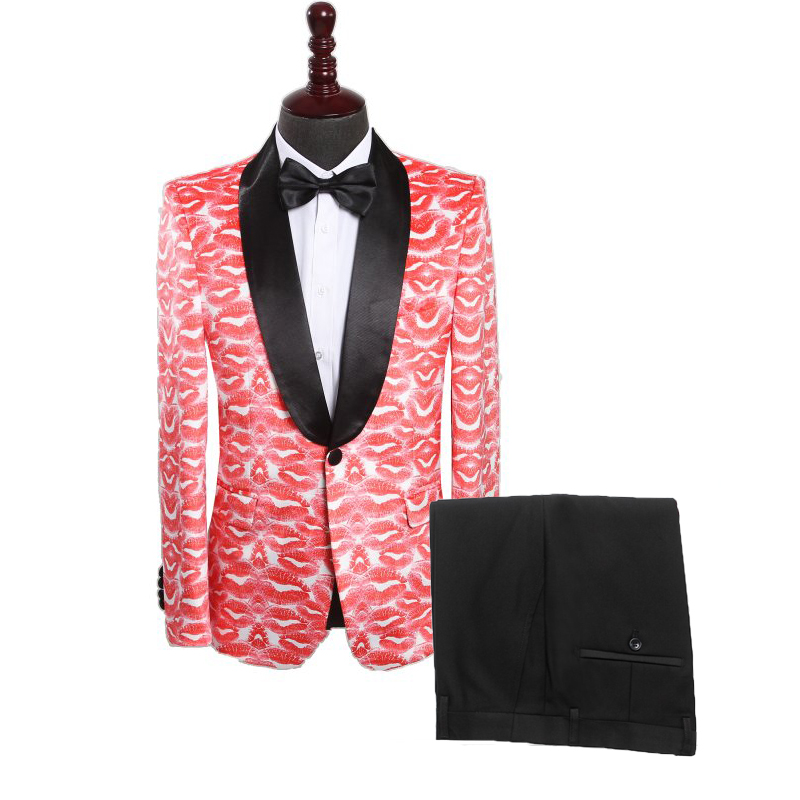 2020 Fashion Casual Men Suit Two Piece Lips Pattern Stage Singer Clothing Costume Latest Coat Pant Designs