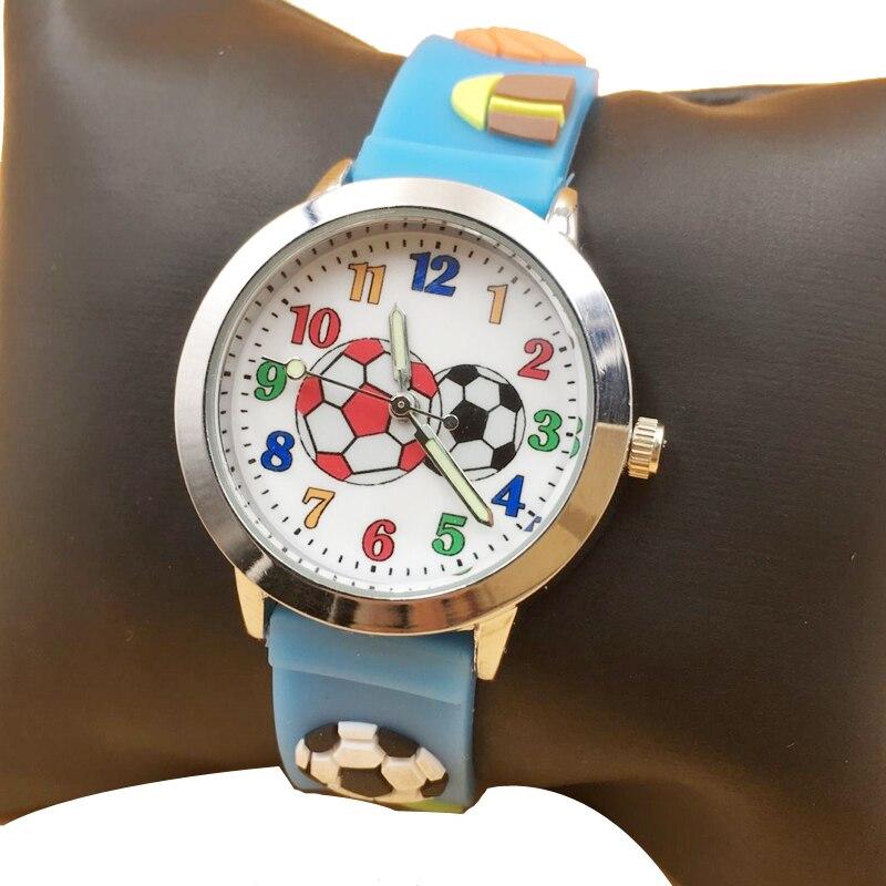 Fashion Kids Boys Watches Waterproof 3D Football Sports Children\'S Watch Jelly Silicone Cute Girl Quartz Wristwatch Reloj