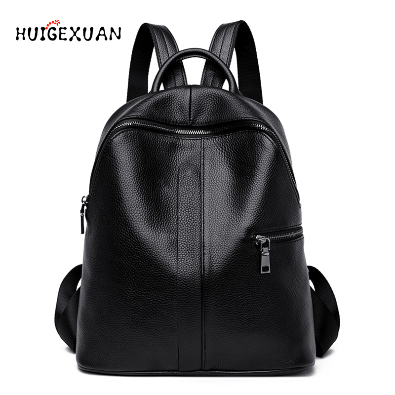 Fashion Women Backpack Genuine Leather High Capacity Leisure Backpacks Multifunction Female Shoulder Bags Girl Campus School Bag