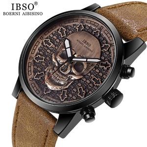 Image 1 - IBSO Brand Vintage Bronze Skull Watch for Men Creative Skull Sport Quartz Hours Male Wristwatch Clocks Hiphop relogios masculino