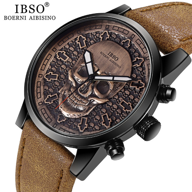 IBSO Brand Vintage Bronze Skull Watch for Men Creative Skull Sport Quartz Hours Male Wristwatch Clocks Hiphop relogios masculino