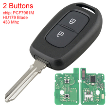 433MHz 2 Buttons Car Remote Key with  PCF7961M  Chip  and HU179 Blade Fit for Renault Symbol Trafic Dacia Duster Logan