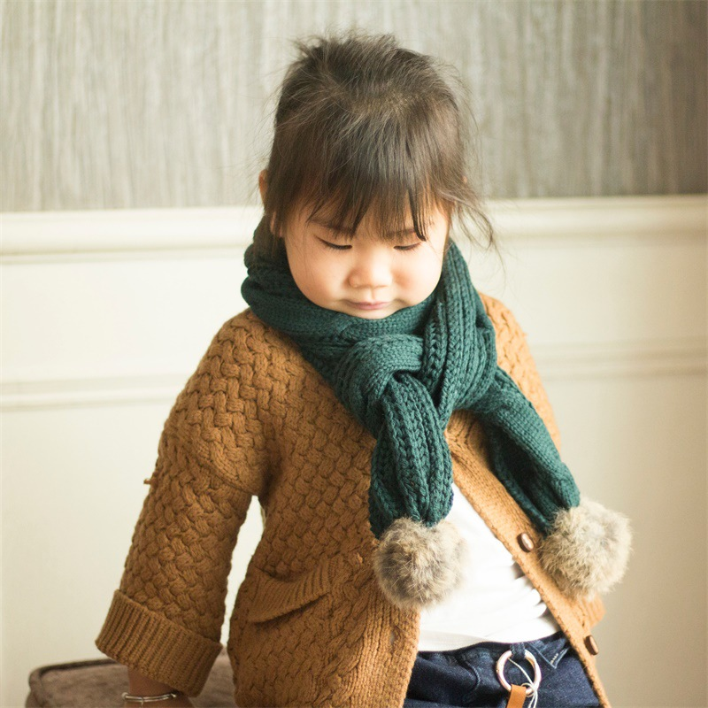 South Korea Autumn And Winter New Style Rabbit Hair Ball CHILDREN'S Scarf Versatile Yarn Linen Flower Color Solid Color Knit BOY