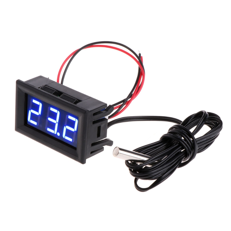 DC 12V Mini Digital LED Thermometer for Car Temperature Monitor Panel Meter Measuring Range -<font><b>50</b></font>-<font><b>110C</b></font> with Temperature Probe image