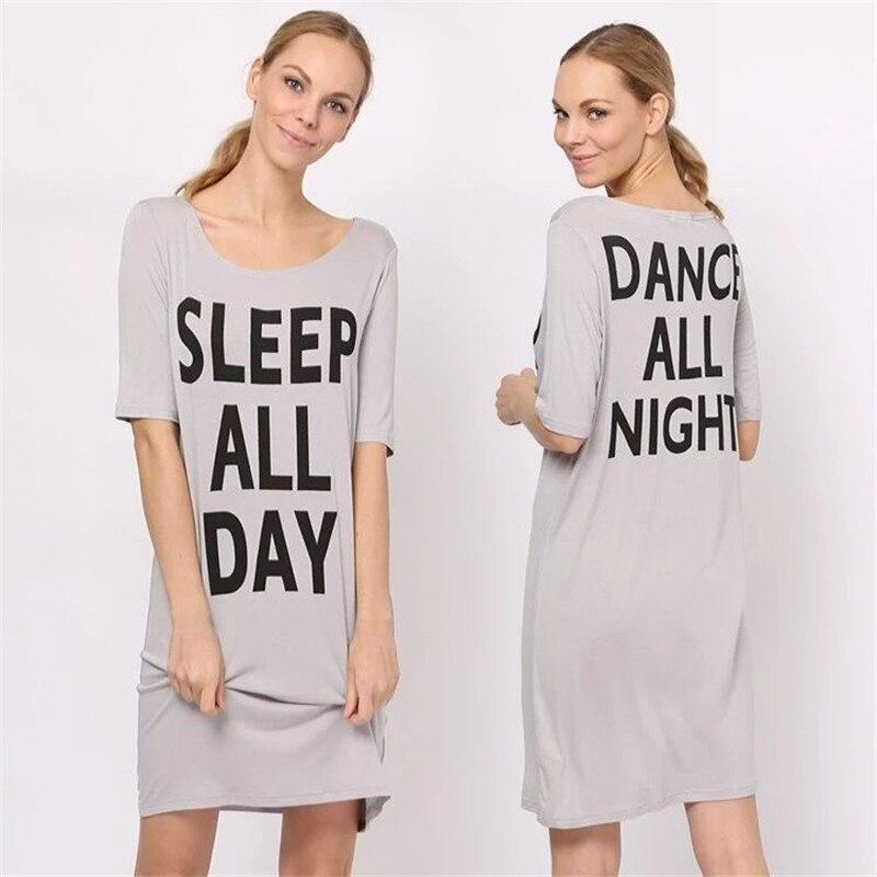 2019 New Night Dress Women Cute Letter   Nightgown   Ladies Knee-length Print   Sleepshirts   Wholesale Womens Nightie Nightdress