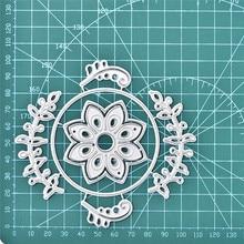 DiyArts Flower Circles Dies Floral Branch Wreath Round Metal Cutting Stencils for DIY Scrapbooking Album Paper Embossing