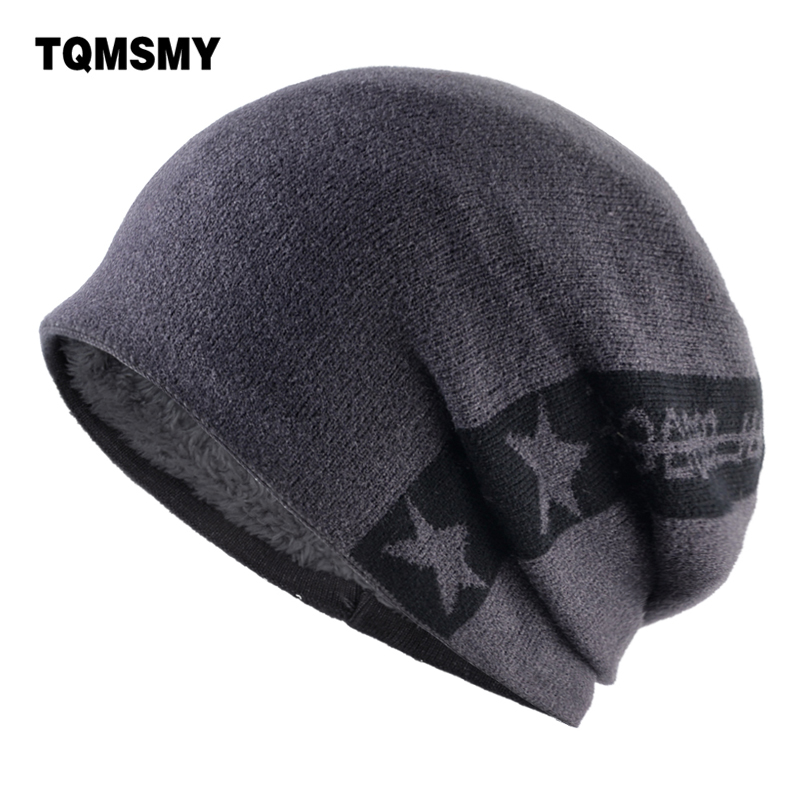TQMSMY Fashion Skulies Beanie Men Knitted Stars Hats Solid Color Knit Winter Beanies Warm Double Layer Gorras Hat Bonnet TMB37