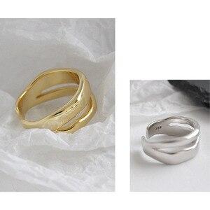 Image 4 - Bagues irrégulières en Argent Sterling coréen pour femmes, redimensionnables, bijou fait à la main, bijoux 925