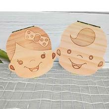 Tooth-Box Storage Souvenirs Wooden Milk-Teeth-Organizer Gift Girls Baby Boys Russian/italian