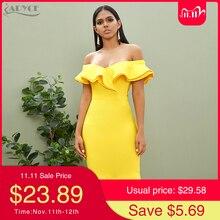 Adyce 2020 New Summer Sexy Off Shoulder Women Bandage Dress Ruffles Slash Neck Yellow White Club Celebrity Party Runway Dresses