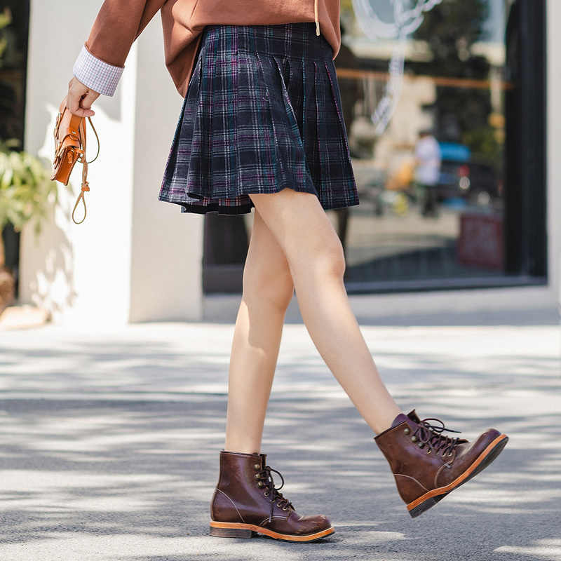 INMAN Winter Literary Preppy Style High Waist Young Cute Check Skirt