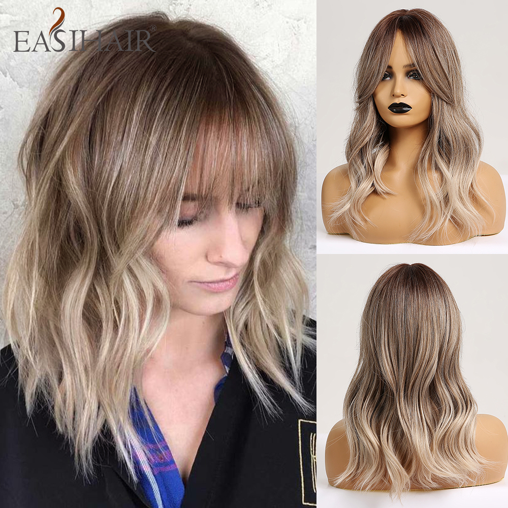 EASIHAIR Medium Grey Ombre Wigs With Bangs Synthetic Wigs For Women Afro Body Wavy Heat Resistant Party Cosplay Wigs