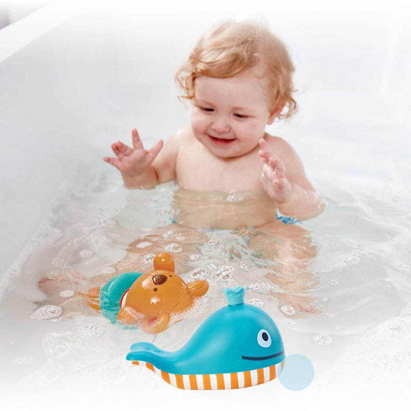 Hape baby bath toys water toy for kids swimming teddy and colourful dolphin on swimming pool in Bath Toy from Toys Hobbies