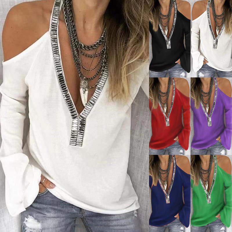 Fashion Two Shoulders White Black Women Cotton T Shirt Long Sleeve V Neck Sexy Vogue Sequins Girls Tee Plus Size 5XL