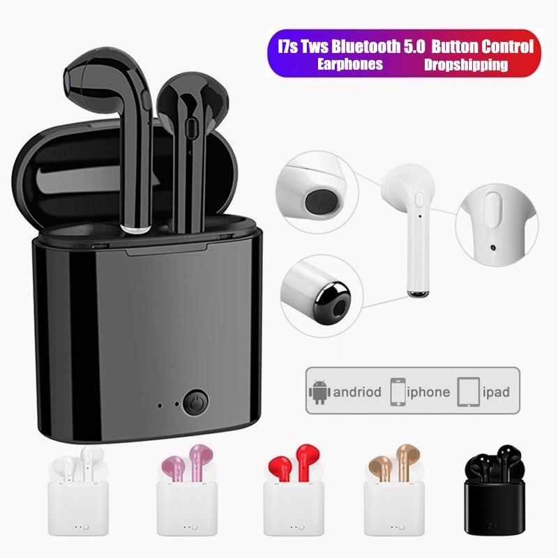 I7s TWS Wireless Earphones Bluetooth Headphones Sport Earbuds Headset With Mic Earpiece For Iphone Xiaomi Samsung Huawei Oppo