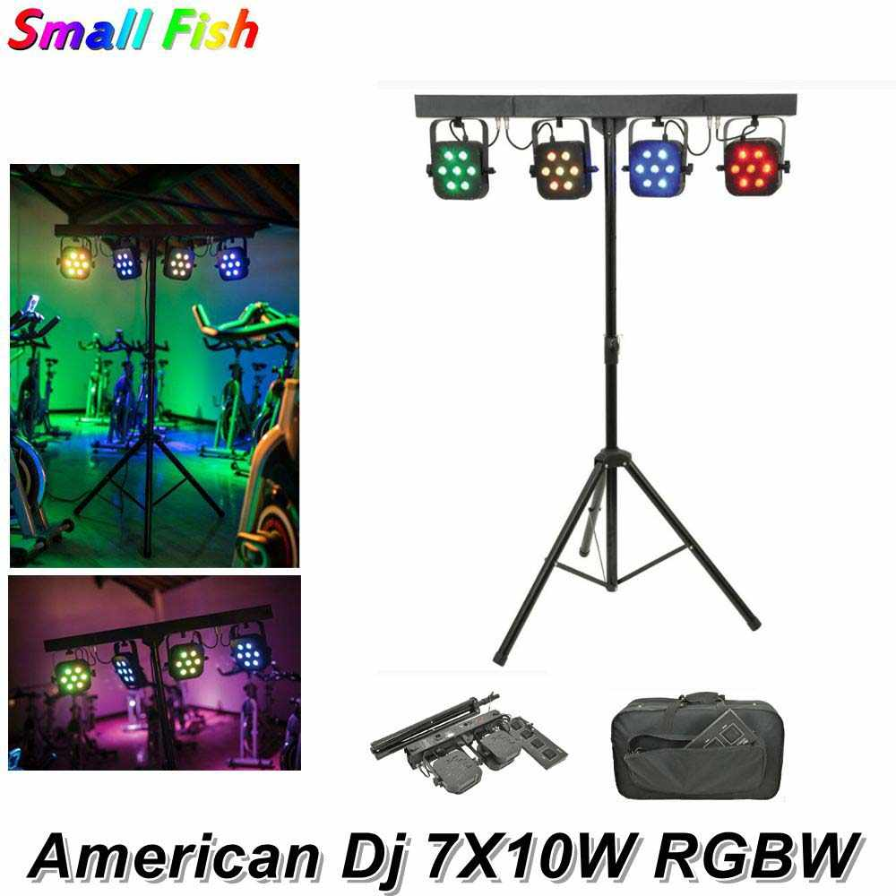 Amerika DJ Par LED Kit 4Pcs 7X10W 4IN1 RGBW LED Slim Flat Par Light dengan Cahaya stand DMX Foot Controller Paket Tas DJ Lampu