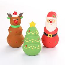 Dog Latex Santa Claus/Elk/Christmas Tree Shape Squeaky Toy for Teeth Cleaning Chew Training