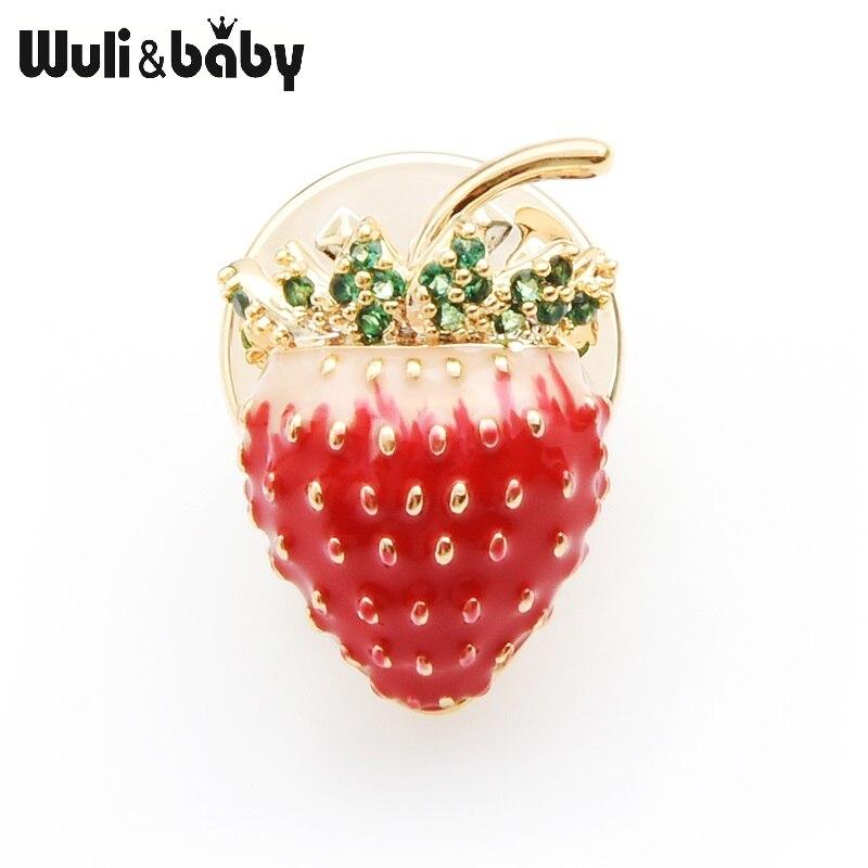 Wuli&baby Green Czech Rhinestone Red Enamel Strawberry Collar Pin For Women New Year Gifts