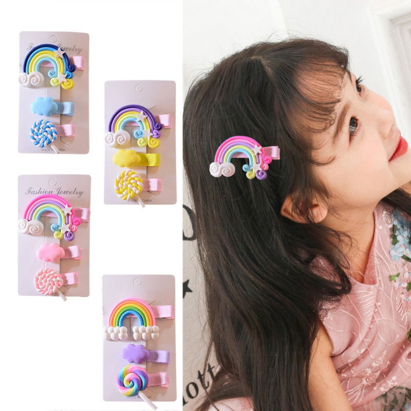 3PCS/set Cute Fashion Girls Hair Clips Cartoon Rainbow Clouds Design Hair Pin Set Children Princess Hair Accessories