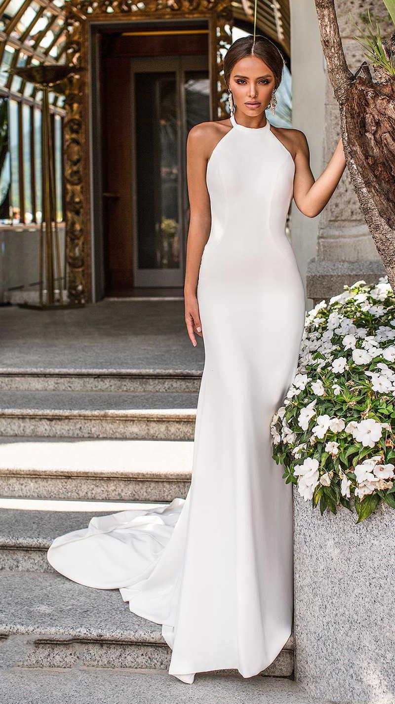 Verngo Mermaid Simple Wedding Dress Ivory Stain Wedding Gowns ...