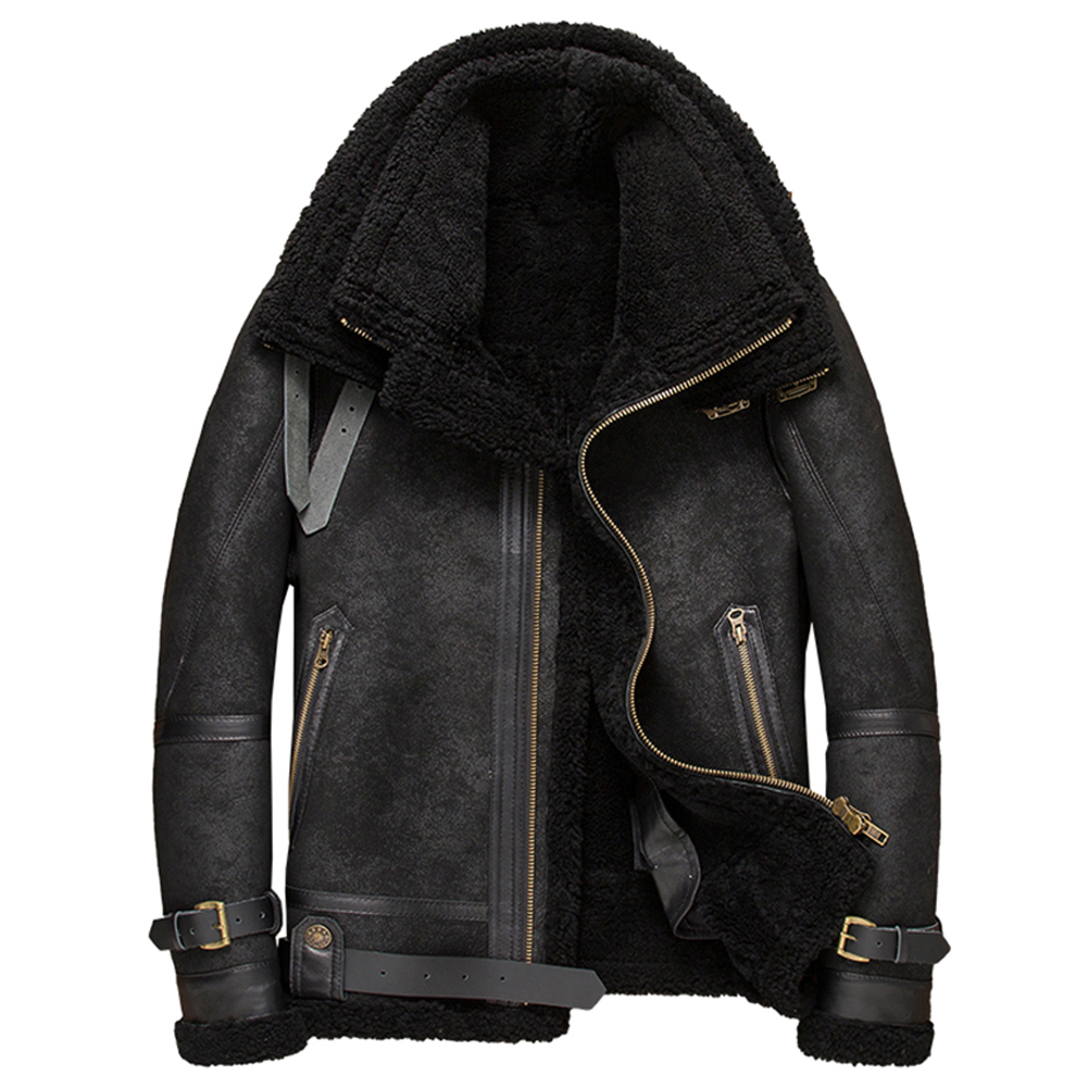 2019 New Mens Black B3 Sheepskin Shearling Jacket Double Collar Leather Jacket Short Winter Fur Coat Mens Motorcycle Jacket