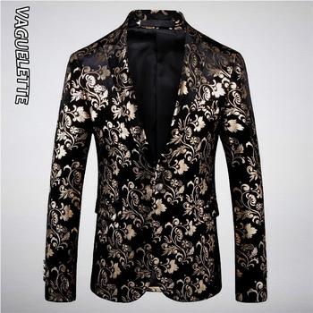 Vaguelette Vines Floral Pattern Blazers Mens Wedding Party Stage Coat Stylish Fashion Printed Golden Blazer For Men 2020