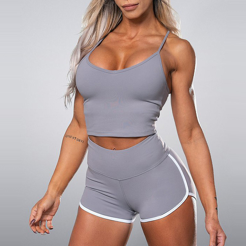Women Yoga Sets Fitness Suits Sportwear 2pcs Pad Top Bras Sexy Shorts Gym Running Clothing Workout Suit Active Wear Outfit,ZF411