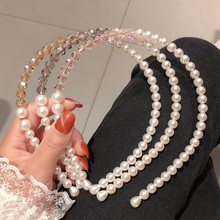Creative Pearl Crystal Beads Handmade Hairbands For Bridal Boho Hair Accessories Korean Fashion Thin Costume Headwrap Top Sale