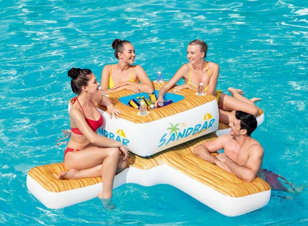 Île gonflable géante de flotteur de piscine de barre de 4 personnes avec la piscine plus fraîche