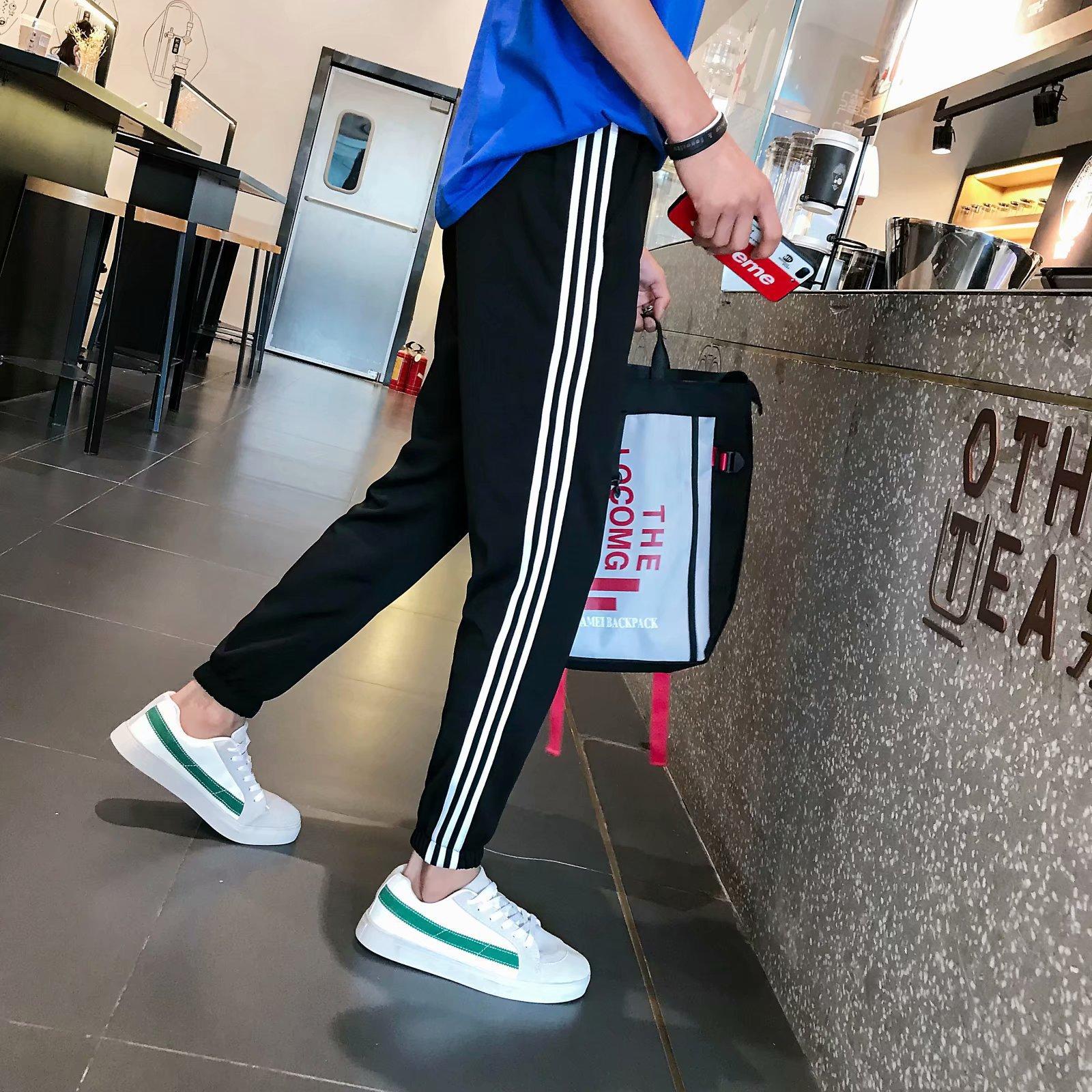 National Trends INS Three Bars Athletic Pants Men's Korean-style Trend Casual Pants Versatile Students Stripes Capri Sweatpants