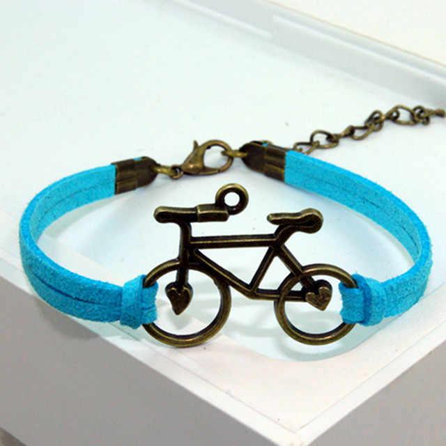 1 枚インフィニティ自転車手作り女性チャームブレスレットレザーブレスレット友情ギフト 138-143