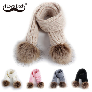 New Kids Scarf Pompom Winter Warm Children Toddler Scarves Outdoor Solid Color Knitted Baby Girl Boy Scarf