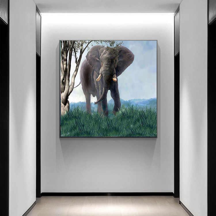 الفيلة الطبيعية كوادروس قماش اللوحة البرية الحيوان الاسكندنافية الملصقات والمطبوعات صور فنية للجدران لغرفة المعيشة