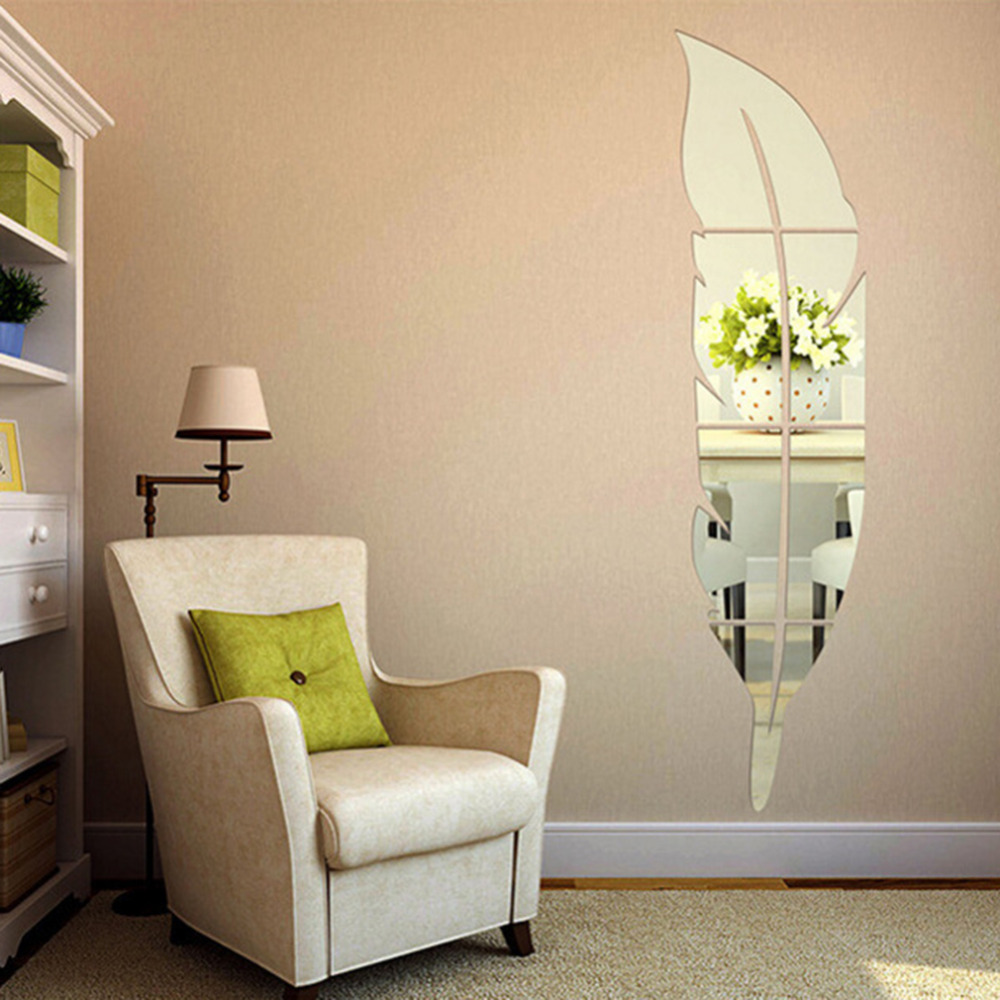 Beautiful Feather Shape Wall Sticker Home Bedroom Living Room 3D Mirror Surface Wall Decorative Stickers