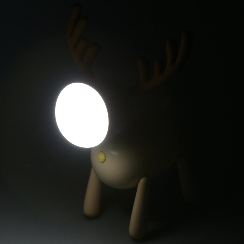 Светодиодный ночник с оленем, силиконовый мультяшный Usb Перезаряжаемый светильник для детской спальни, прикроватный светильник с регулируемой яркостью, молочно-белый
