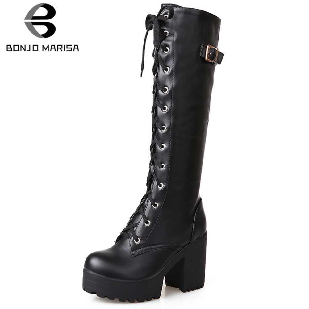 BONJOMARISA 34-43 Elegant สุภาพสตรีแพลตฟอร์มกลางลูกวัวรองเท้าผู้หญิง 2020 Chunky รองเท้าส้นสูงวันที่รองเท้าผู้หญิง
