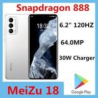 "Original Meizu 18 5G Smart Phone 64.0MP Snapdragon 888 30W Charger 6.2"" 120HZ 3120x1440 Android 10.0 Screen Fingerprint OTA 1"
