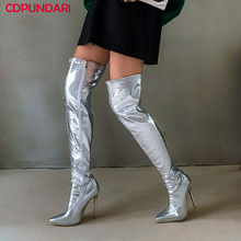Sexy Stiletto Super High Heels Thigh High Boots Ladies  Autumn Winter Over The Knee Long Boots Shoes Cuissarde Femme Black