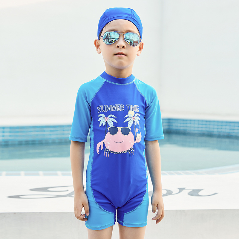 19 New Style Hot Sales One-piece Swimming Suit Send Swimming Cap Short Sleeve Shorts Cartoon Stand Collar Ultra-stretch Quick-Dr