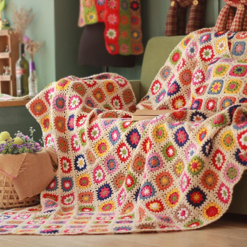 Multi colour mat handmade original Hand hooked crochet blanket cushion felt bay window banket home&living wedding gift