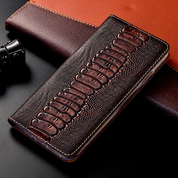 Genuine Leather Ostrich Case For Poco X2 X3 NFC F1 F2 M2 Pro flip stand wallet Magnetic cover capa shells bags