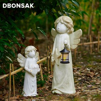 LED Guardian Angel Statue Love Star Angel Lantern Decoration Character Sculpture Patio Home Living Room Resin Crafts Decoration