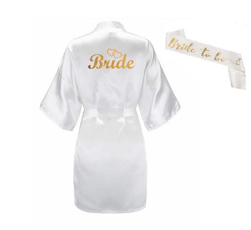 Hot DealsKimono Robe Slippers Bridal-Sash Satin-Short Glitter-Gold Peignoir Women of 3pc-Set