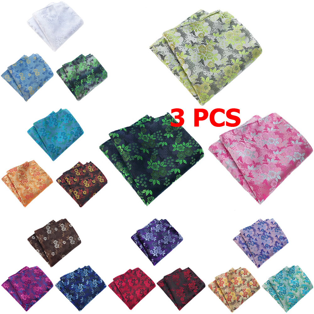 3 PCS Mens Fashion Flower Pocket Square Handkerchief Wedding Party Hanky NEW