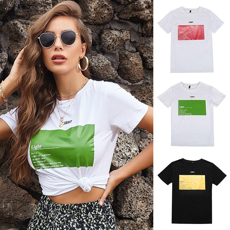 Letter Print Short Sleeve T Shirt Fashion White Women's Summer New Short Sleeve Casual Round Neck Camiseta De Manga Corta