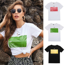 Letter Print Short Sleeve T Shirt Fashion White Women's Summer New Short Sleeve Casual Round Neck Camiseta De Manga Corta
