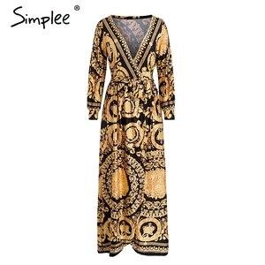 Image 2 - Simplee Vintage Bloemenprint Lange Vrouwen Jurk Zomer Sexy Lange Mouw Paleis Maxi Jurk Paisley 2019 Boho Robe Party Club jurk